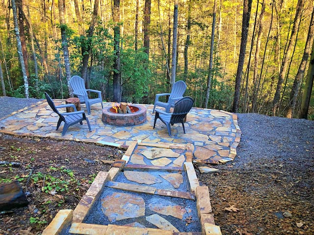 New fire pit and stairs added February 2019