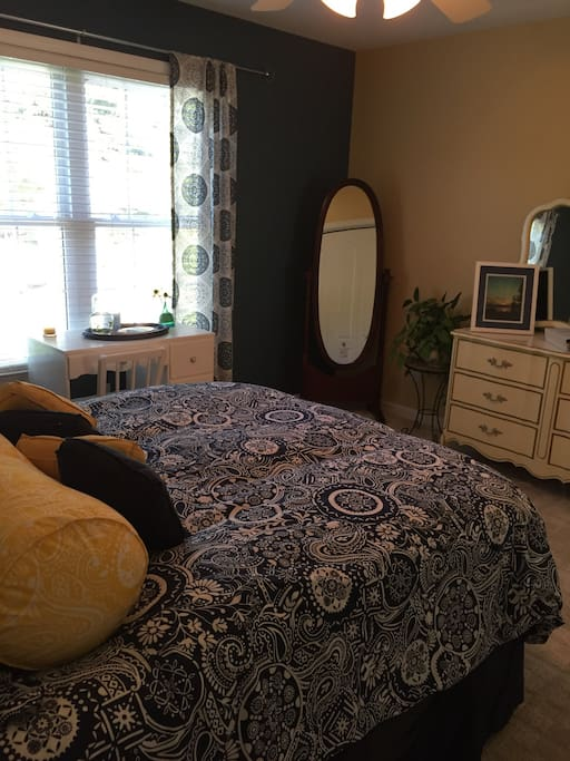 Lots of sunlight in the room, full size mirror, dresser and closet space available.