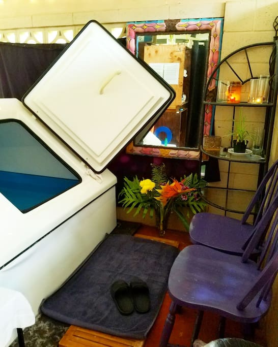 Our float tank, also known as a sensory deprivation tank.