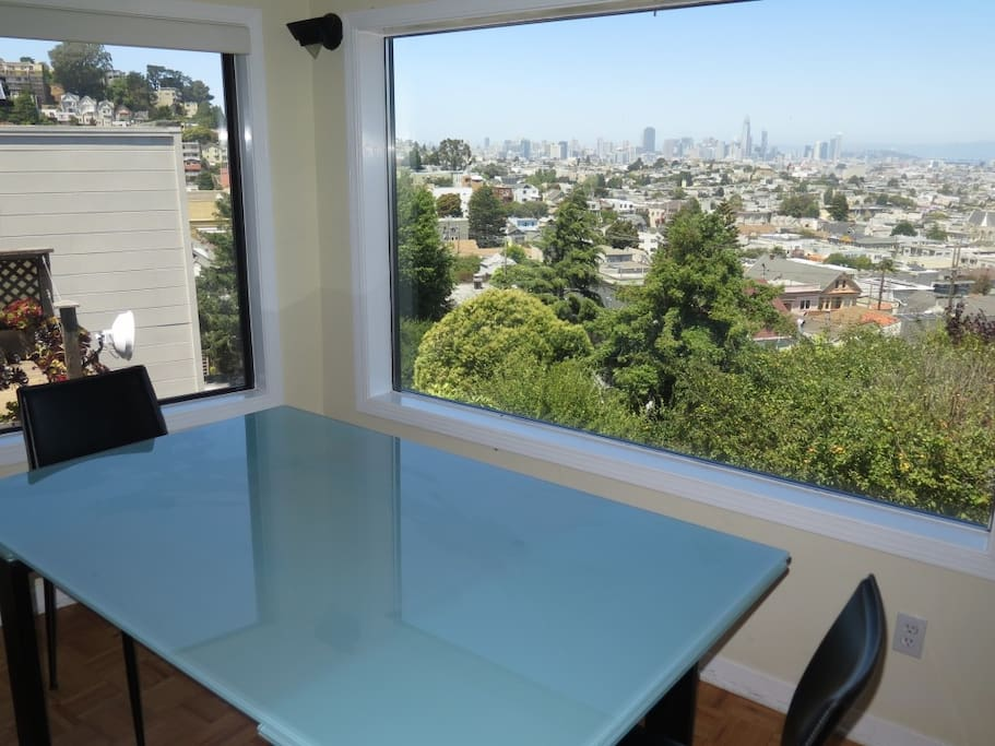 Dining room table with sweeping view of San Francisco
