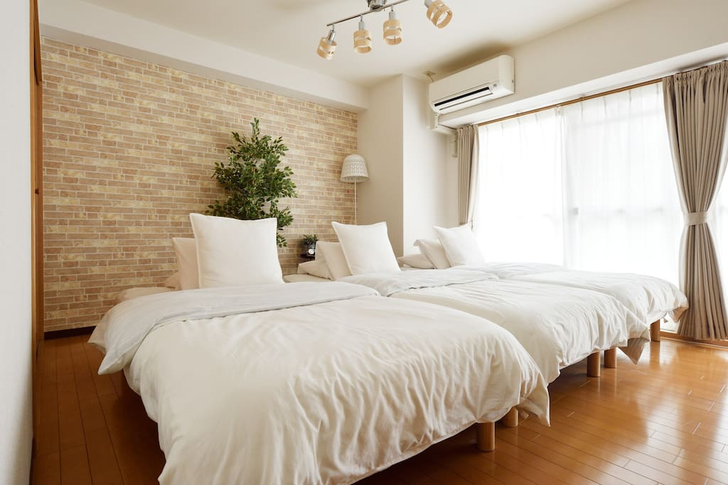 3 single size beds with comfortable linen.