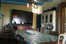 "Dining room w/70"" tv"
