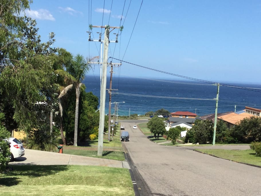 Top of street to patrolled beach and surf club