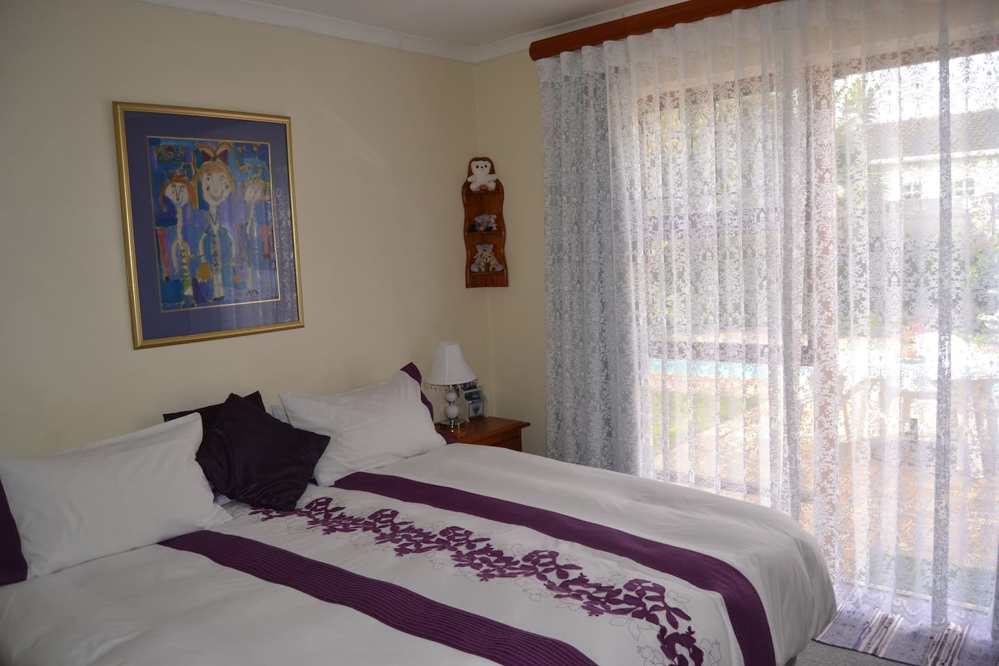Lazy Lavender leads out onto pool and braai area. Sleeps 2 and is lightly self catering