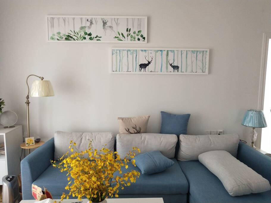客厅,清新北欧风,有电视和蓝牙音响