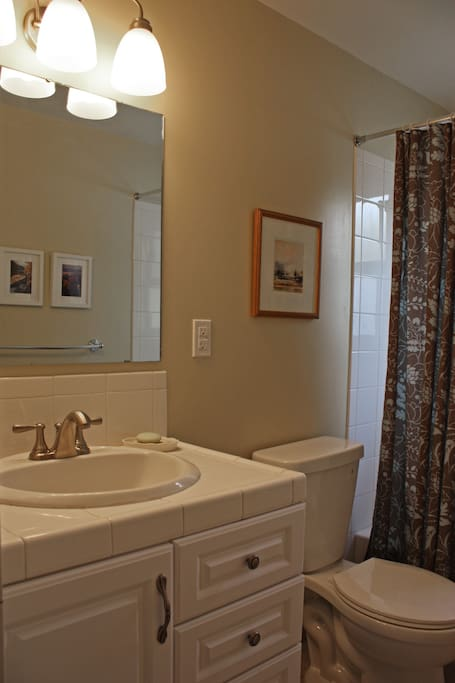 Private bathroom with bath tub and shower
