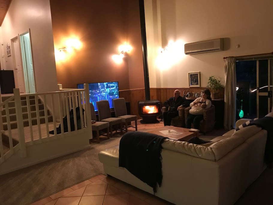 Large TV and Fireplace
