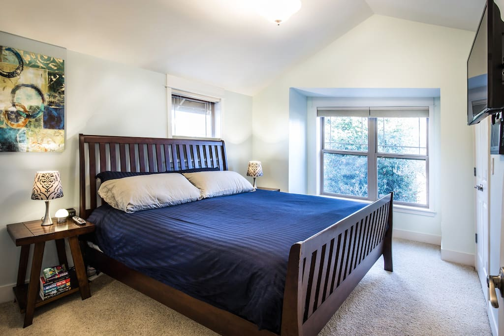 """Master bedroom, includes king size bed, and a California closet.  Sabrina: """"Nights are quiet here and it is extremely safe. Modern amenities make this place a dream."""""""