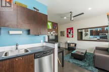 Stainless steel appliances.  And the large wall mirror looks great!