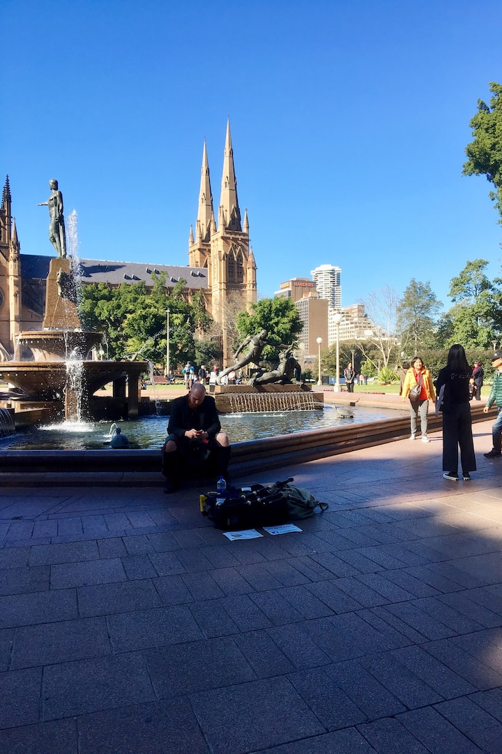 Fountain plaza with potential buskers