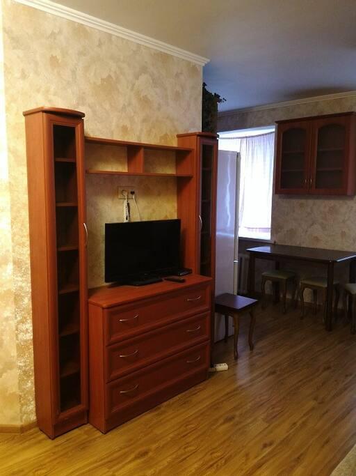 Гостиная (телевизор напротив дивана), имеется принтер