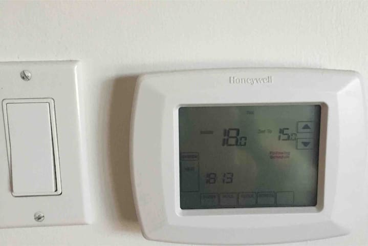 Our guests adjust the thermostat to suit their own needs. Modern baseboards run throughout your apartment for your comfort.