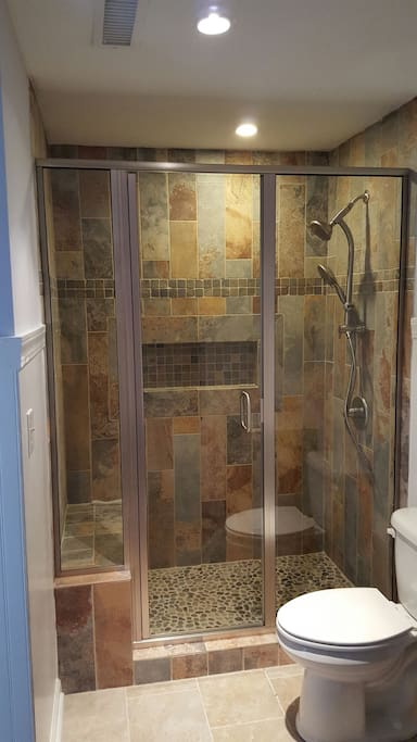 Tile shower with dual heads