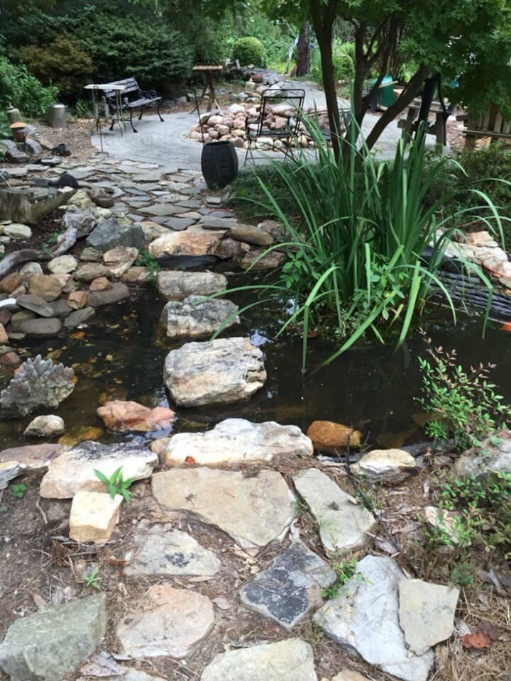 Garden Exit: stepping stones in stream