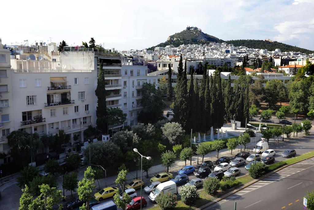 View of Lycabetus mountain and Vass.Konstantinou Avenue