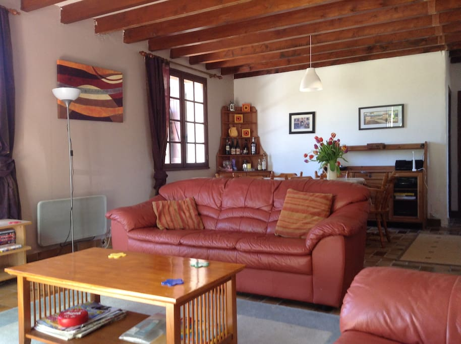 living & dining area. comfy leather sofas, tv & seating for 6