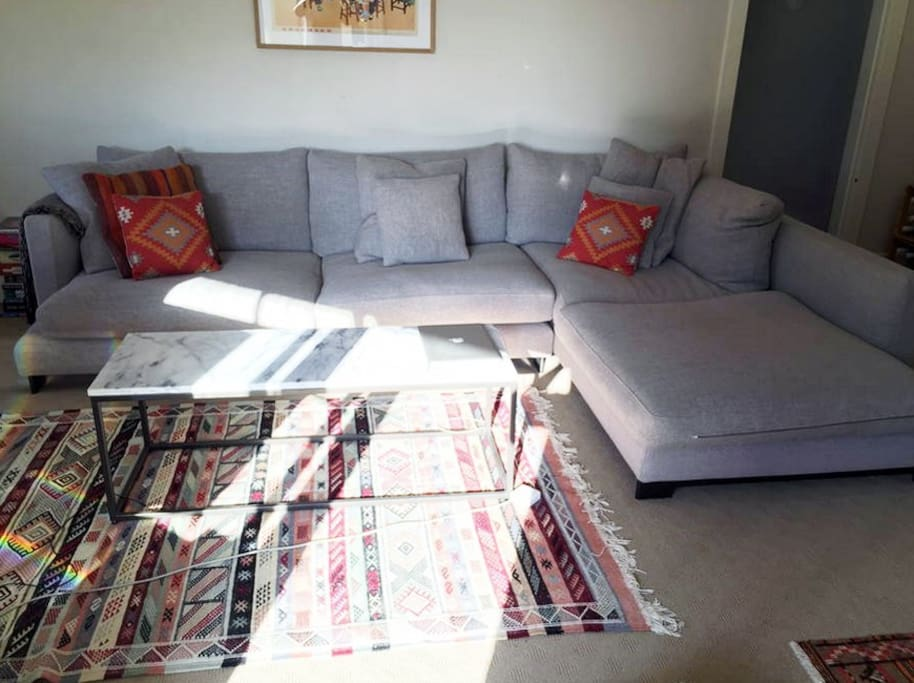 Bright & sunny with AMAZINGLY comfy couch
