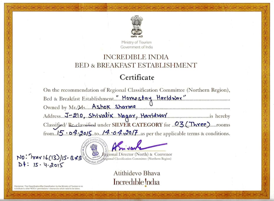 Accreditation by Min.of Tourism