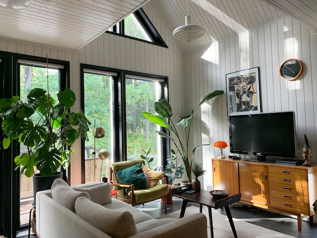 Cozy, midcentury wooden loft house close to center