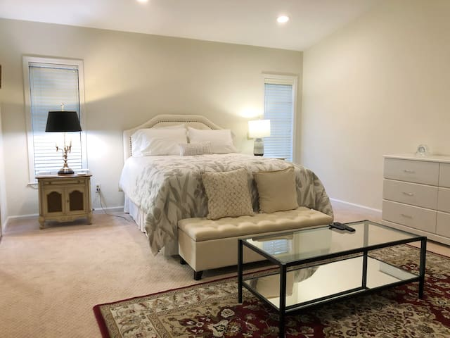 Huge downstairs master suite with 2 oversized walk in closets