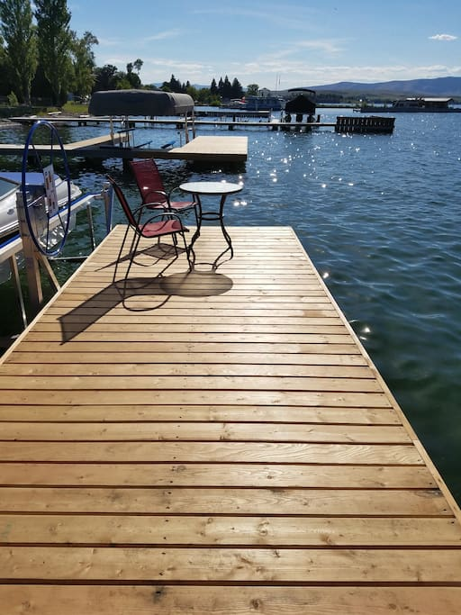 Enjoy morning coffee on the dock