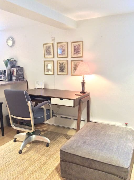 Large desk and comfortable working chair