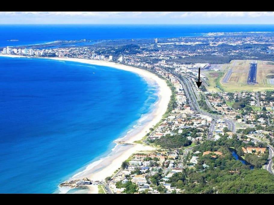 Bilinga Beach Break, showing you where we are on our beautiful coastline...