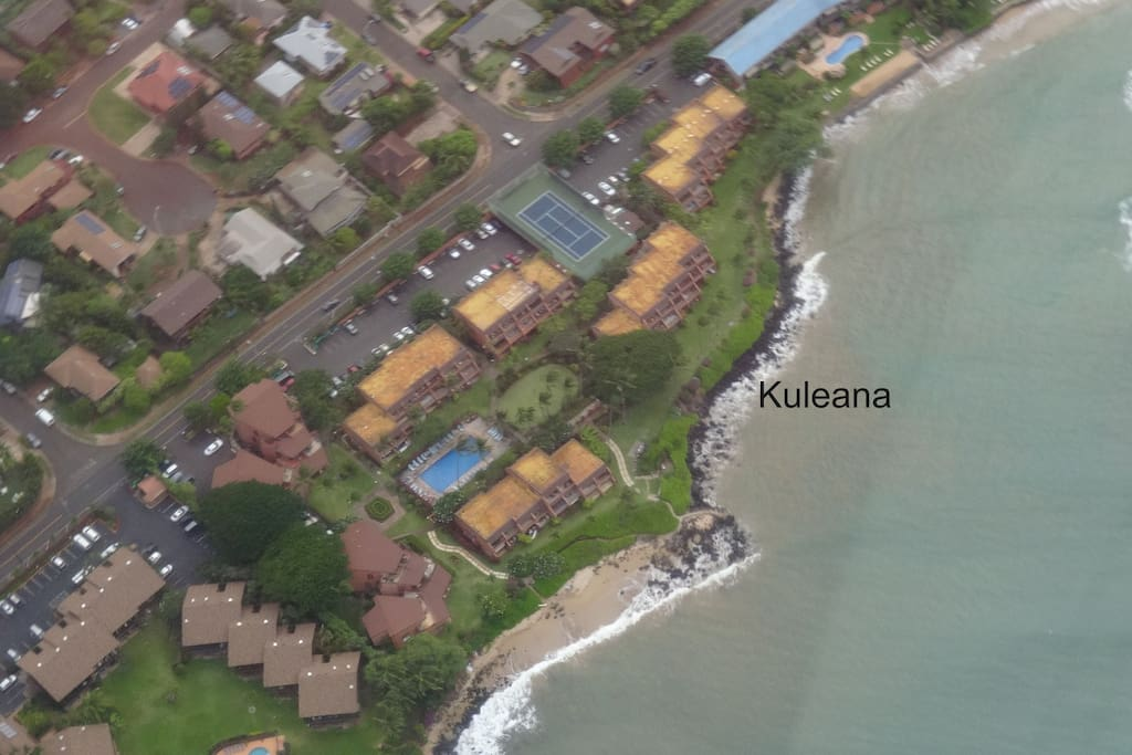 From the sky - see tennis court and nice, large pool. 2 private beaches too with lots of turtles!