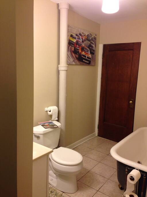You will find this bathroom quite convenient. It also has a tub AND standup shower. And it is ALWAYS clean.