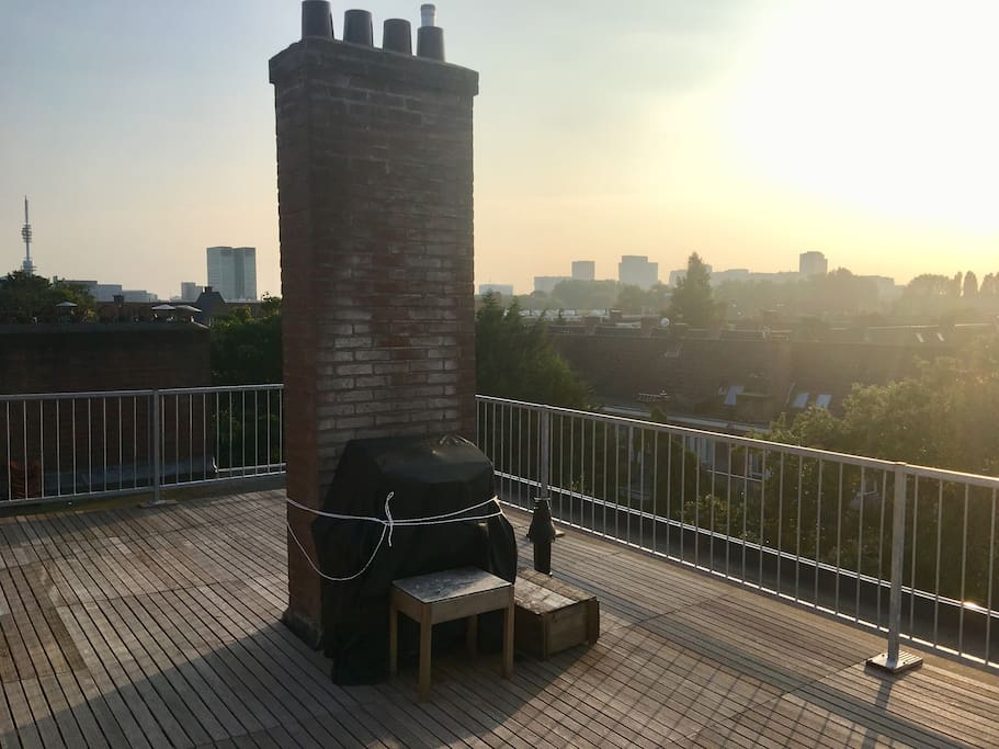 Our rooftop terrace looking over Amsterdam South