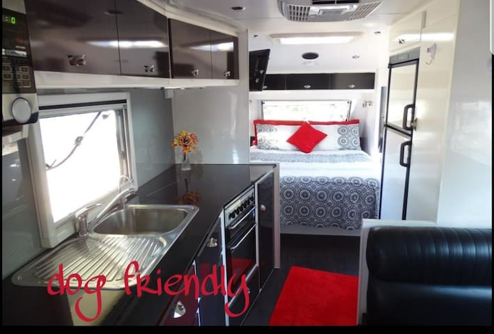 luxury caravan in a peaceful rural setting