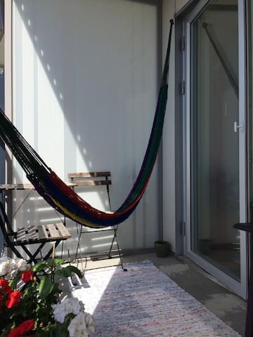 Big balcony where you can lay back and relax in the hammock.