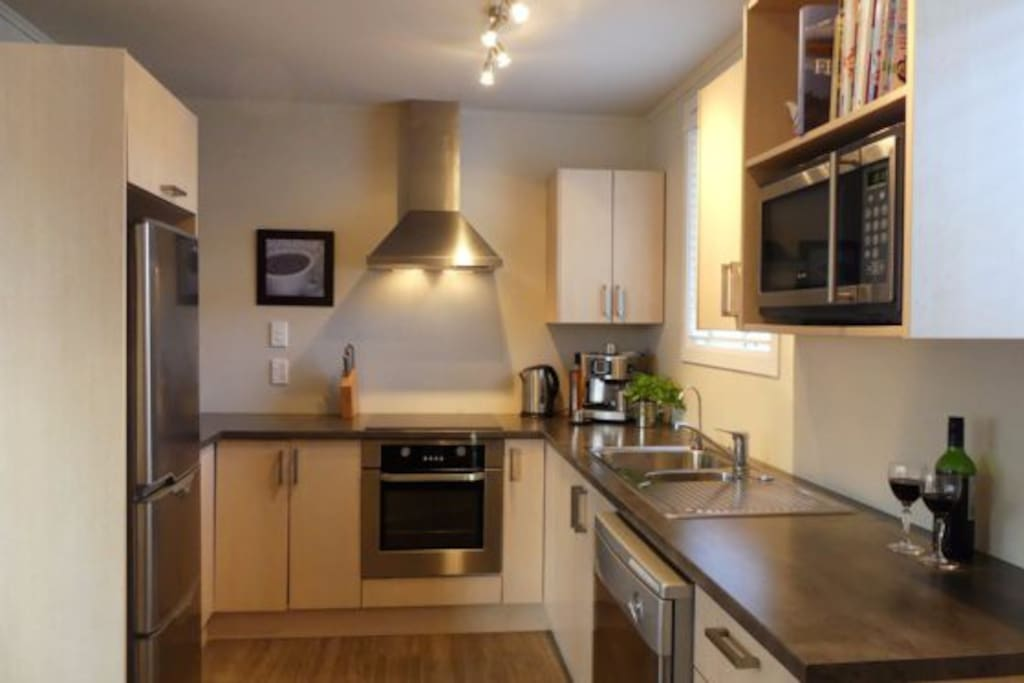 A well equipped kitchen with modern new appliances