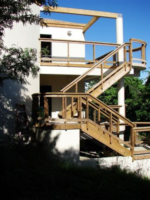 Staircase leading to the upper and lower villas.