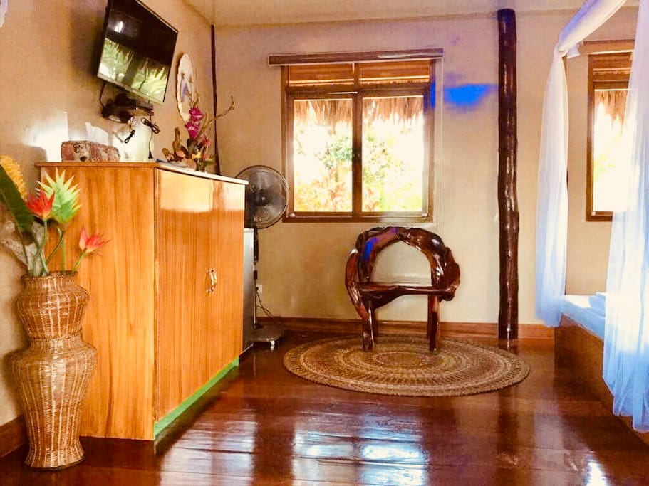 Wooden Floor and furnitures, TV with cable