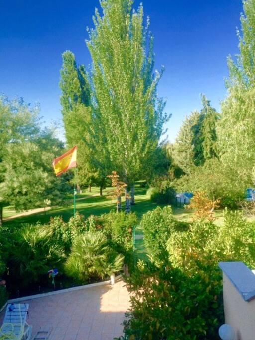 Foto desde la ventana del jardín individual