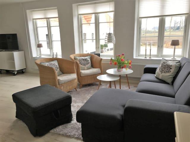 Fællesrum med sofagruppe, TV og dobbeltseng.