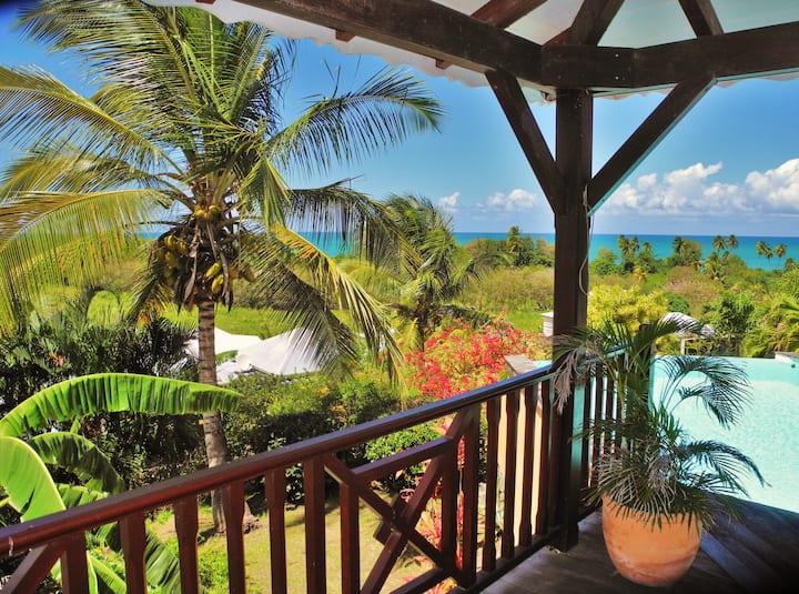 Villa avec piscine vue panoramique 300 m  plage