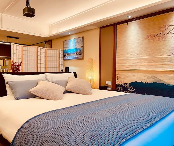 曼豪斯巽寮湾·日本风情房间(对海入睡、投影、智能化家居、浴缸、厨房餐具)