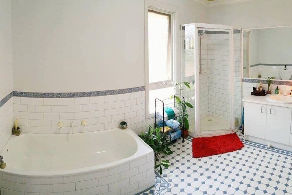 Upstairs Bathroom with shower & bath. All rooms can be lit by Crystal lamps.