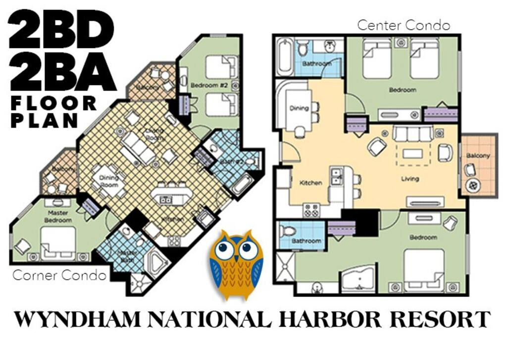Floor plans. 2 bedroom condos. Condos are assigned at check-in.