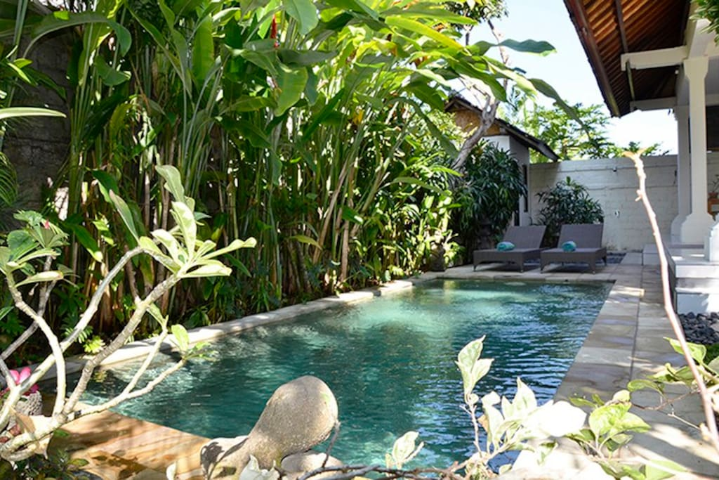The pool is private and beside the living area.