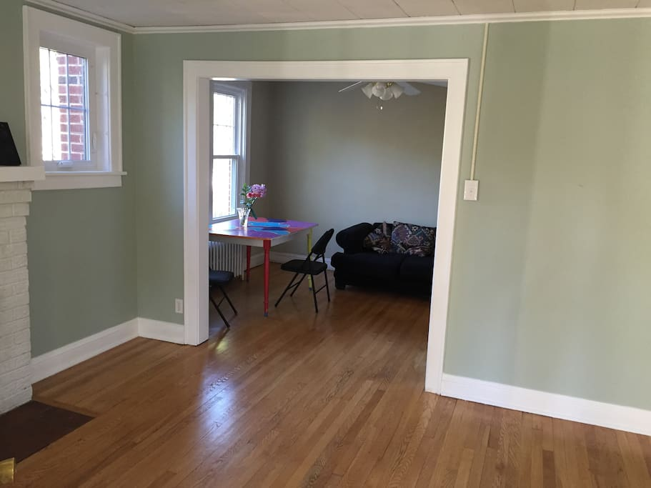 Wood floors and lots of light throughout