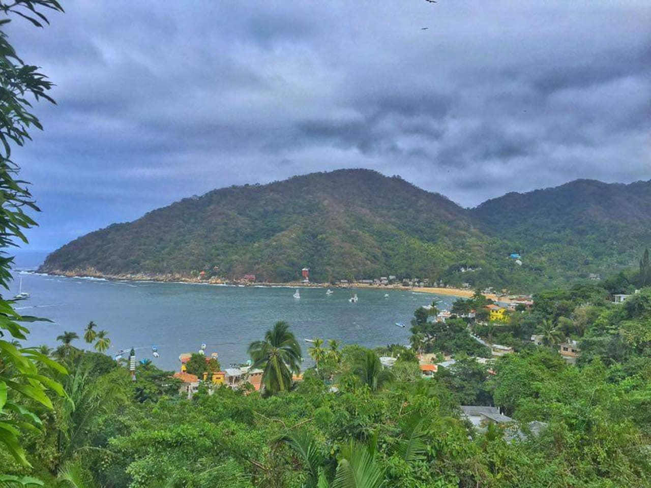 view from upper rooftop terrace/ bedroom of Yelapa Bay