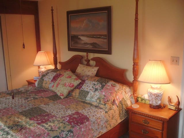 There is a king size bed in the master bedroom along with two bedside tables and lamps and two arm chairs, dresser, cable TV with ROKU and Netflix and shared full bath.