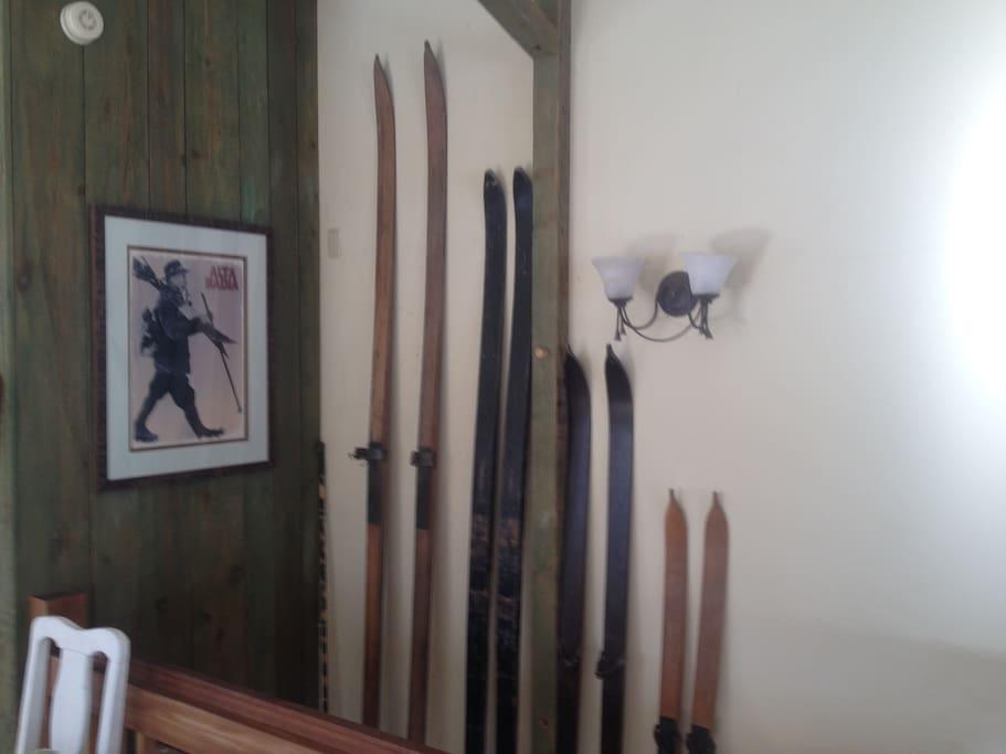 Vintage skis + Alta Badia art