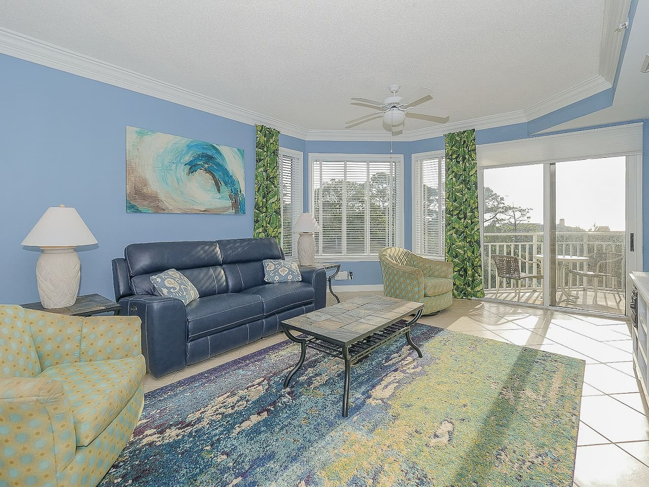 Living Room with Balcony Access at 2405 SeaCrest