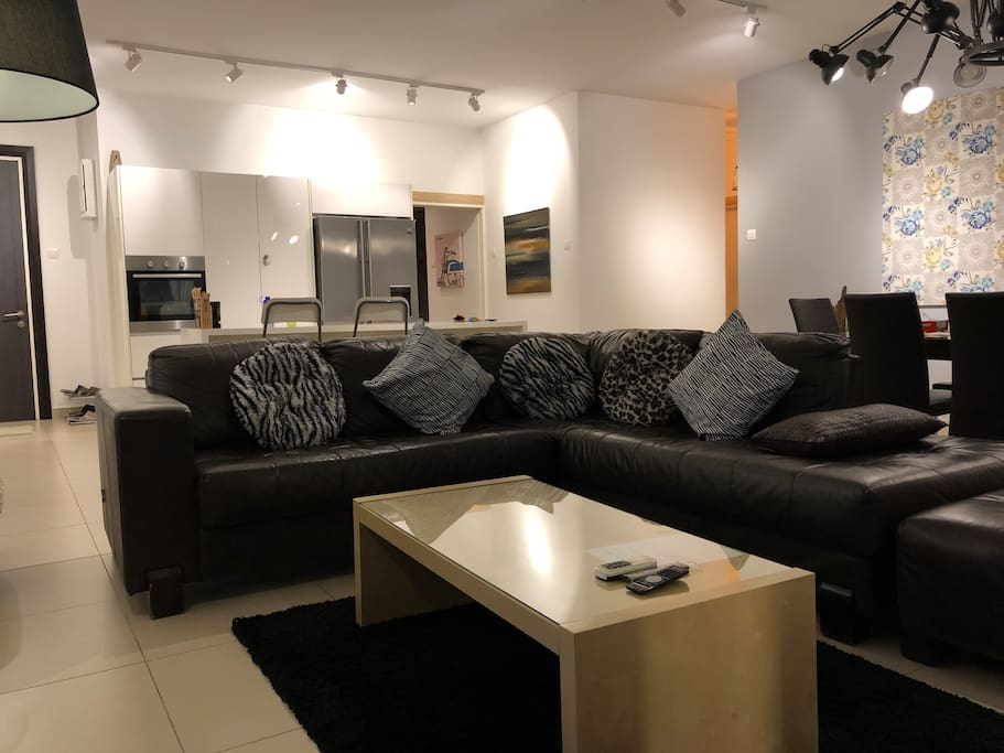 Spacious Living Room With L Shape Leather Sofa