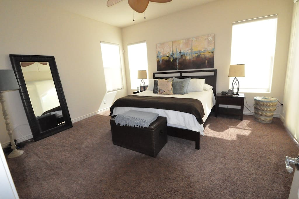 Spacious master suite with private bathroom attached