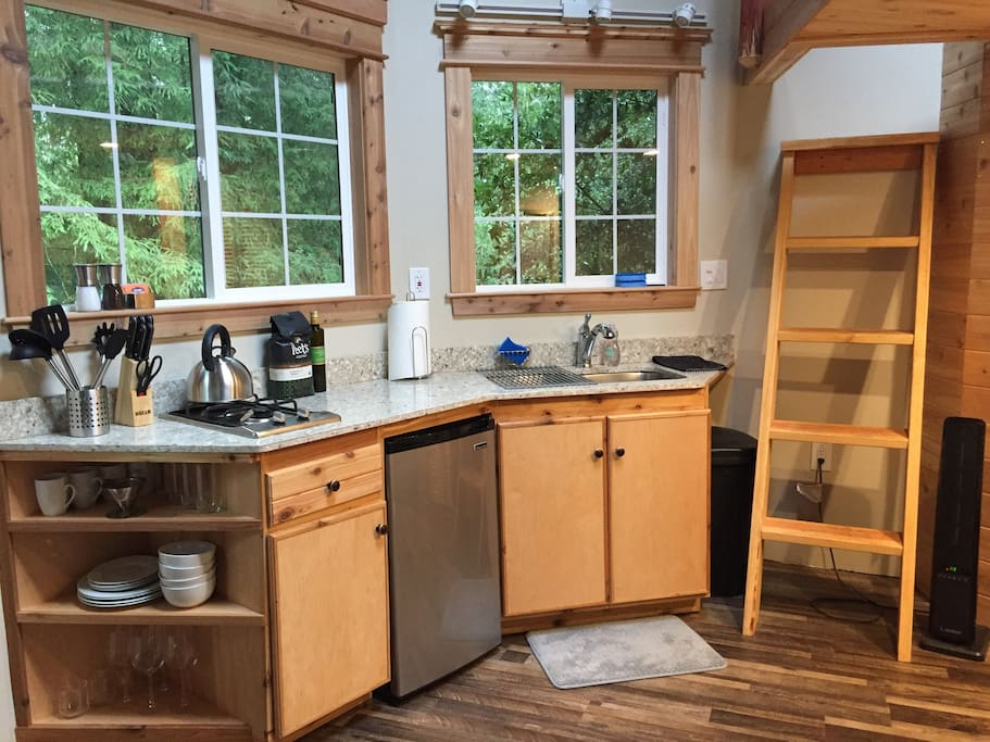 Cedar House Kitchenette has everything you'll need for cooking at home during your stay.